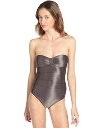 Calvin Klein Metallic Grey Bandeau One Piece Swimsuit