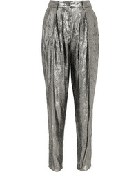 Michl kors collection silk blend lam tapered pants silver medium 5219684