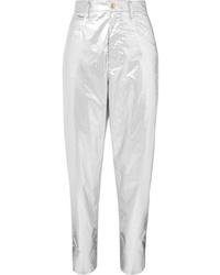 Isabel Marant Torsy Metallic Cotton Tapered Pants