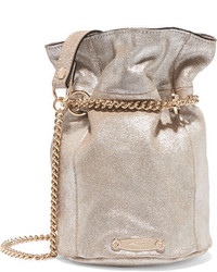 82fc646513d9f Lanvin Aumoniere Metallic Textured Leather Bucket Bag Silver