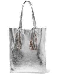 Loeffler Randall Tasseled Metallic Textured Leather Tote Silver