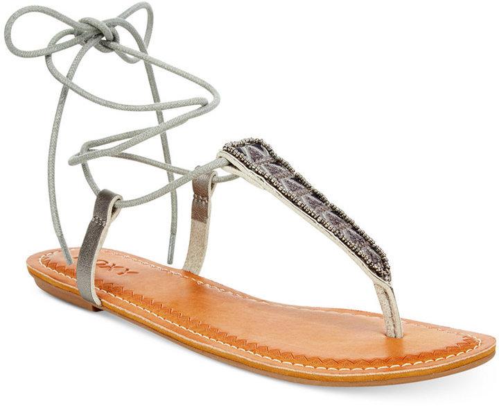 d172db91e ... Silver Thong Sandals Roxy Caspian Tie Up Thong Sandals ...