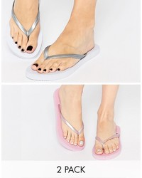 Asos Friendly Two Pack Flip Flops