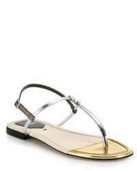 Fendi Isabel Metallic Leather Thong Sandals