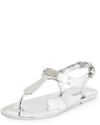 33b420a1442 ... MICHAEL Michael Kors Michl Michl Kors Mk Plate Jelly Flat Thong Sandal  Silver
