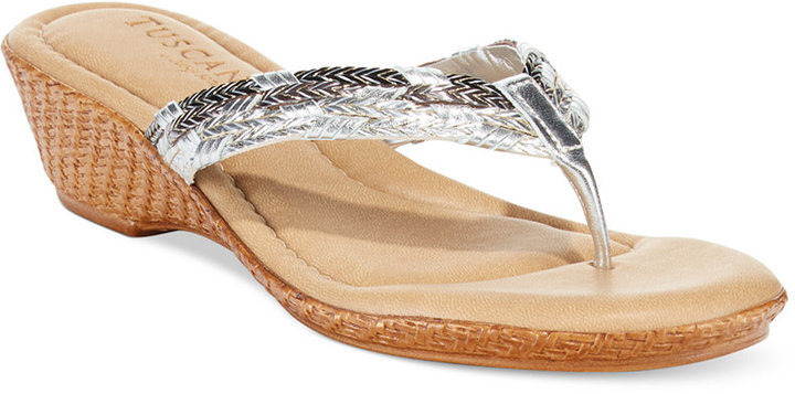 2e2366659 ... Silver Thong Sandals Easy Street Shoes Tuscany By Easy Street Prato  Wedge Thong Sandals ...