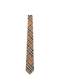 Burberry Beige Silk Vintage Check Modern Cut Tie