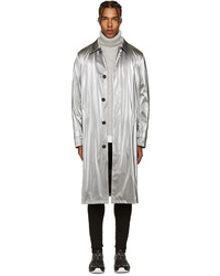 Versace Silver Metallic Trench Coat