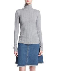 Acne Studios Ribbed Turtleneck Sweater Silver Gray