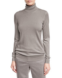 Loro Piana Long Sleeve Turtleneck Cashmere Sweater Silver Myrtle