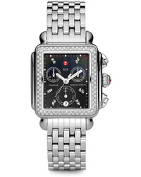 18mm deco diamond black dial watch head steel medium 533427