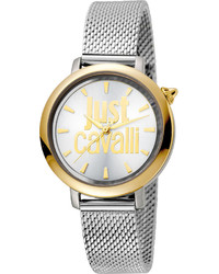 Just Cavalli 34mm Logo Two Tone Stainless Steel Bracelet Watch Silver