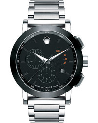 Movado 44mm Museum Sport Chronograph Watch Silverblack