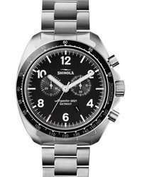 Shinola 44mm Rambler 600 Tachymeter Watch Silver