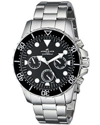 Adee Kaye Ak2322 Blk Marinaio Analog Display Japanese Quartz Silver Watch