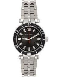 Versace Black Silver Greca Sport Watch