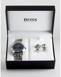 Hugo Boss Boss By Bracelet Strap Watch Cufflink Gift Set 1570047