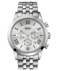 BOSS HUGO BOSS Round Chronograph Bracelet Watch 43mm Silver