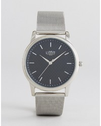 Limit Carbon Fibre Dial Mesh Watch In Silver To Asos