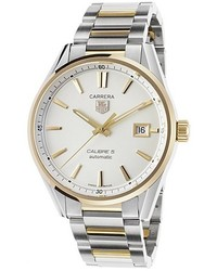 Tag Heuer Carrera Auto Stainless Steel And 18k Gold White Dial