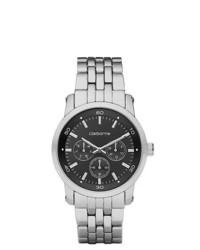 Claiborne Black Silver Tone Multifunction Watch
