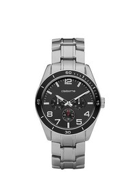 Claiborne Silver Tone Black Dial Watch