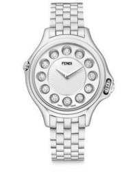 Fendi Crazy Carats Diamond White Topaz Black Spinel Stainless Steel Medium Bracelet Watch