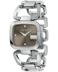Gucci G  32mm Stainless Steel Bracelet With Diamonds Watch Ya125401 Watches