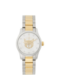 Gucci Gold And Silver G Timeless Feline Watch