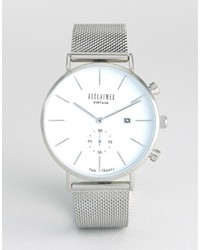Reclaimed Vintage Inspired Dial Mesh Watch In Silver