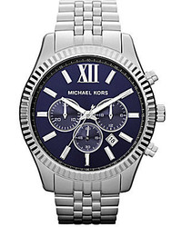 Michael Kors Michl Kors Lexington Silver Chronograph Watch