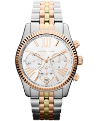 Michael Kors Michl Kors Mid Size Silver Color Stainless Steel Lexington Chronograph Watch