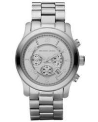 Michael Kors Michl Kors Runway Oversized Silver Tone Stainless Steel Watch
