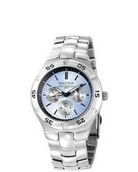Nautica Metal Basic Silver Stainless Steel Quartz Watch With Blue Dial