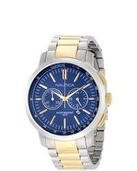 Nautica Metal N23602g Two Tone Stainless Steel Quartz Watch With Blue Dial
