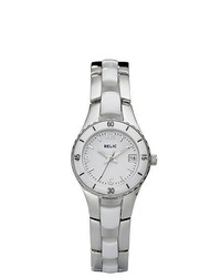 RELIC White Ceramic Steel Dress Watch