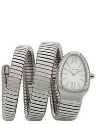 BVLGARI Serpenti Diamond Stainless Steel Wraparound Tubogas Bracelet Watch