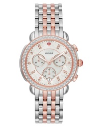 Michele Sidney Chrono Diamond Diamond Dial Watch Case