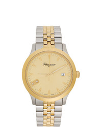 Salvatore Ferragamo Silver And Gold Duo Watch