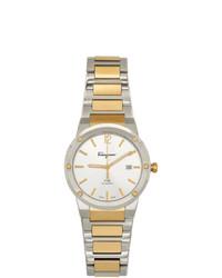 Salvatore Ferragamo Silver And Gold F 80 Classic Watch