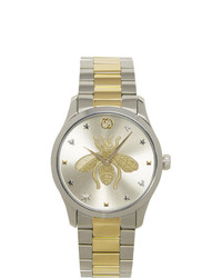 Gucci Silver And Gold G Timeless Bee Watch