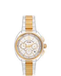 Fendi Silver And Gold Moto Chronograph Watch