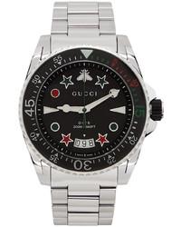Gucci Silver Black Dive Watch