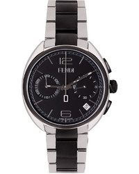 Fendi Silver Black Moto Watch