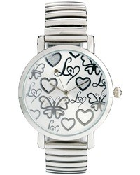 Lipsy Silver Colored Expander Watch With Silver Colored Dial Silver