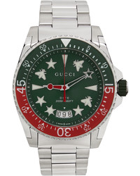 Gucci Silver Green Dive Watch