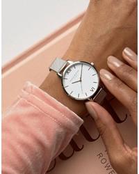 Olivia Burton Silver Large White Dial Mesh Watch