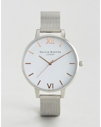 Olivia Burton Silver Large White Dial Mesh Watch