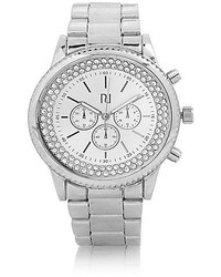 River Island Silver Tone Gem Encrusted Watch