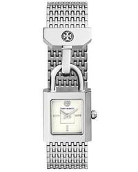 Tory Burch Surrey Padlock Multilink Bracelet Watch Silvertone